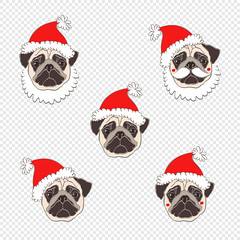 Pugs. Vector set of  dog's face in Santa's hat. Five hand-drawn isolated elements.  Dog - animal symbol of new year 2018. (everythingisfivedollar) Tags: pug santaclaus hat holiday dog face drawing animal white wrinkles doggy illustration funny puppy isolated pup bestfriend cute greetingcard humorous sketch canine purebred handdrawn vector set element object red outline contour asian celebrate tradition zodiac cartoon art decoration chinese symbol calendar 2018 christmas newyear santa mustache beard brown winter festive chihuahua