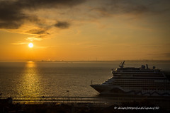 morning colors (ignacy50.pl) Tags: landscape sunlight sun sunrise colorful ship passenmgersship water river clouds sky beautful lisbon portugal travel journey touristic