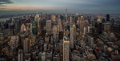 Manhattan (reinaroundtheglobe) Tags: ny nyc newyorkcity newyork city cityscape urban urbanlandscape skyline building buildings offices financialdistrict traveldestination touristattraction downtown highangleview usa observationdeck panorama cityshots empirestatebuilding bluehour