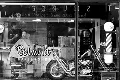 Cool Barber (chase_lyda) Tags: barber monochrome bw motorcycle people photography photos hair styles belmont comb brush clippers canon camera