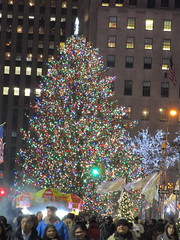 2017 Christmas Tree Rockefeller Center NYC 4478 (Brechtbug) Tags: 2017 christmas tree rockefeller center after lighting 12022017 nyc 30 rock new york city standing up above ice rink with snow shoveling workers skating holiday decoration ornaments night lights lites light oversize load ornament prometheus gold mythological statue sculpture fountain fountains post thanksgiving