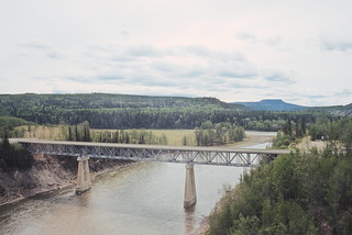 East Pine River Bridge on the Dawson Creek Sub on May 25, 1992 -- 3 Photos