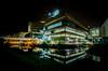 Huddersfield University (Matthew Brown 7) Tags: starburst reflections huddersfield university nightphotography nighttime night longexposure water canal lights nikond7000 sigma1020mmf456