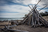 Beach Teepee (Go See Do Photos) Tags: whitefishpoint lakesuperior upperpeninsula michigan greatlakes beach driftwood