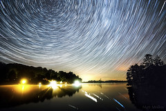 Iridium Flare Constellations (Matt Molloy) Tags: mattmolloy timelapse photography timestack photostack movement motion night sky stars lines trails northstar polaris water reflections trees lights island cranberrylake burnthills ontario canada landscape nature countryside lovelife