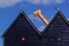 bigbird (lowooley.) Tags: whitstable kent southeastengland huts sheds gull crane black blue yellow