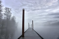 Into the fog. (mwhitney-hall) Tags: willamette river fog pier
