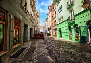 Colorful street in Szczecin, Poland