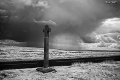 """Ralph's Cross (""""A.S.A."""") Tags: ralphscross castletonrigg northyorkshire moorland cloud rain infrared830nm britain countryside sonya7rinfrared830nm sony2470f28gm mono monochrome greyscale niksoftware silverefex asa2017"""