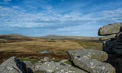 View north from Pew Tor, Dartmoor - NK2_4679 (Jean Fry) Tags: dartmoor dartmoornationalpark devon englanduk mistor moorland nationalparks pewtor stapletor uk westcountry ponds tors greatstapletor greatmistor