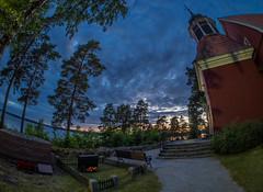 Angelniemi church #2 (Dan Österberg) Tags: church dark evening sky trees woodenchurch religion red green blue angelniemi kimito finland sunset fisheye