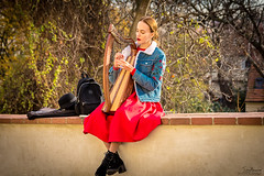 Busking in Prague. (Tony_Brasier) Tags: people peacefull play prague czechoslovakia nikon lovely music green woman working sigma sky bluesky bag harp 1750mm d7200