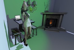 LOTD 185 (Annessa.Byron) Tags: apple fall af applefall ra runaway fameshed equal greyscale table stool notebook fireplace maya mossmink pumps filter fire bbd poses em event furniture indoor