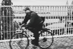 IMG_5818-Edit (odwalker) Tags: blackcolor adult bicycle blackandwhite city citylife commuter cycling day lifestyles male men monochrome oneperson outdoors people street urbanscene