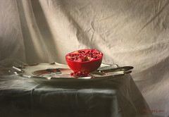 December Still Life ... (MargoLuc) Tags: pomegranate fruit melograno red frutta spoon sweet natural soft window light shadows dish pottery silver gold stilllife classic