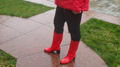 PA150048 (Axelweb) Tags: chubby bbw girl lady female rainwear raincoat pvc shiny wellies rubber boots gas mask plastenky holinky rainsuit rain suit plastic wellington gumboots galoshes gummi