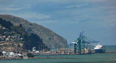 The Port of Lyttelton (Steve Taylor (Photography)) Tags: lyttelton crane port harbour wharf container newzealand nz southisland canterbury pacific ocean sea boat ship porthills