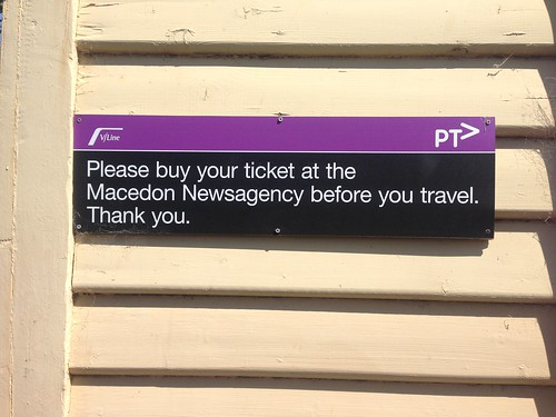 Ticketing sign at Macedon Railway Station