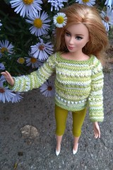 Barbie doll clothes. Hand-knitted free form green pullover sweater & apple green short leggings for Barbie (uliakiev) Tags: barbie barbiedoll barbiedollclothes barbieclothes barbiesweater barbiecollector barbiecollection barbiefan barbiefashion barbieclothing barbiedolls barbieshop barbiestyle barbiestream barbiecrochet barbieknit dollclothes dollsweater dollknitting