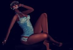 Blue, Blue, Blue... (kare Karas) Tags: woman lady femme girl girly sexy sensual seduce seductive beauty cute pretty soul indoors virtual secondlife avatar fantasy dreams colors huds mesh poses corset jewelry ~blacklace~ moondancejewels kposes xxxevent