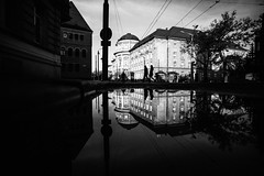 As above, So below 88.365 (ewitsoe) Tags: reflection street city cityscape puddle duel reflect ewitsoe poznan poalnd canon 20mm canoneos6dii sigma20mm art artseries wide fullframe couple peopel walking silhouette love afternoon sun clouds atumnal fall monochrome bnw blackandwhite 365 88