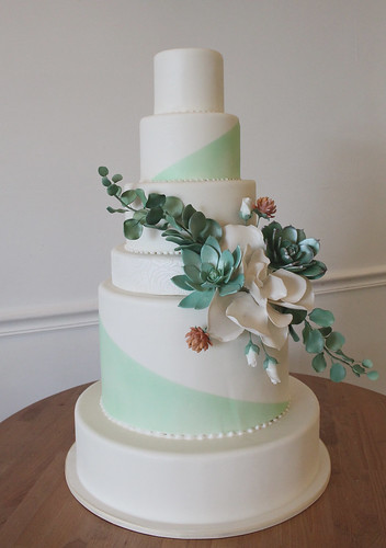 Succulent Spray Wedding Cake