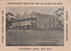 Vangelder's Hotel, Woy Woy, N.S.W. - very early 1900s (Aussie~mobs) Tags: vintage newsouthwales australia pub hotel woywoy vangelder accommodation advertisement