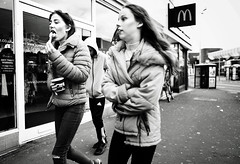 teenage life (streetstory) Tags: blackpool england bw 2017 streetphotography teenagers girls mcdonalds mcflurry spoon antitheftwarning phonebox adidas hoodie