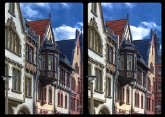 Gothic architecture of Quedlinburg 3-D / Stereoscopy / CrossEye / HDR / Raw (Stereotron) Tags: sachsenanhalt saxonyanhalt ostfalen harz mountains gebirge ostfalia hardt hart hercynia harzgau quedlinburg architecture gothic gotik neugotisch antiquated historic crosseye crosseyed crossview xview cross eye pair freeview sidebyside sbs kreuzblick 3d 3dphoto 3dstereo 3rddimension spatial stereo stereo3d stereophoto stereophotography stereoscopic stereoscopy stereotron threedimensional stereoview stereophotomaker stereophotograph 3dpicture 3dglasses 3dimage hyperstereo twin canon eos 550d yongnuo radio transmitter remote control synchron kitlens 1855mm tonemapping hdr hdri raw