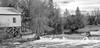 Livin' By The Dam (maureen.elliott) Tags: dam river waterflow paisley blackandwhite landscape house outdoors 7dwf brucecounty rural ruralliving saugeenriver
