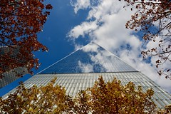 One World Trade Center (Eastern Traveller) Tags: one world trade center blue sky reflection trees manhattan new york usa downtown glass