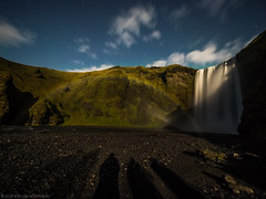 A different type of group shot (katrin glaesmann) Tags: iceland unterwegsmiticelandtours photographyholidaywithicelandtours mountains skógafoss northernlights auroraborealis clouds night longexposure atriptoremember wherestrangersbecomefriends fullmoon rainbow spray group shadows