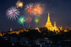 Shwedagon pagoda with with fireworks, Yangon Myanmar (Patrick Foto ;)) Tags: outdoors ancient anniversary architecture asia asian background beautiful buddha buddhism building burma celebration cheerful colorful concept culture display famous fire firework fireworks gold golden happy holiday holy landmark myanmar new night old pagoda peaceful place rangoon religion religious shwedagon sky spiritual stupa sunset temple tourism tourist travel twilight yangon year yangonregion myanmarburma mm