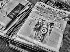 Yesterday's Papers (Helen Orozco) Tags: sliderssunday hss newspapers photoshop headlines string tied delivery m5 motorwayservices thetimes processed
