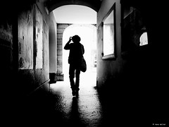 should I go left or right (René Mollet) Tags: thinking leftright blackandwhite bw backlight street streetphotography shadow silhouette streetart streetphotographiebw urban urbanstreet urbanlife man perons renémollet bern