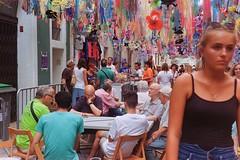 Dominoe competition (davidgarciadorado) Tags: ngc gracia barcelona street film kodak rangefinder color decoration ithinkthisisart