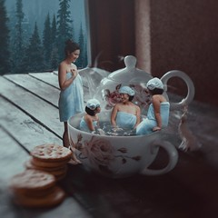 482 Hot Bath (Katrina Yu) Tags: borrowers tiny people cup bath group children 2017 365project surreal fantasy dream conceptual creative