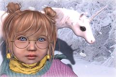 ... look its a unicorn in the snow ... (Alea Lamont) Tags: ndmd cuties mesh toddler avatar child baby skin children avatars unicorn peace earth love light barberyumyum hair halfdeer