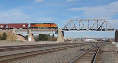 Almost over under (GLC 392) Tags: ge c449w bnsf burlington northern santa fe union pacific up 4777 railroad railway train bridge over under ac44cw ac4400cw cw44ac 6764 7060 ac600cw cw60ac cheyenne wy wyoming c409 ac60cw 9103 7561