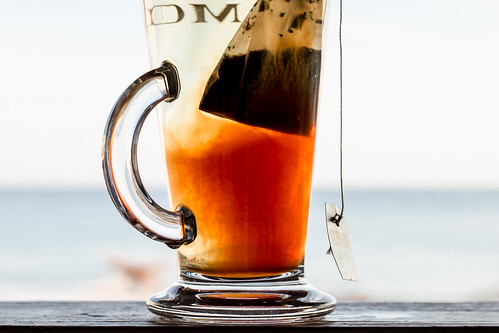 Fruit tea in a glass , close up