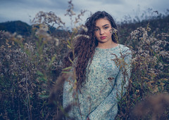 Among the Weeds (lancekingphoto) Tags: model teenmodel youngwoman brunette longhair sweater fall autumn chilly field thesouth tennessee fujifilmxt2 fujinonxf23mmf14r