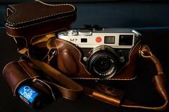 Luigi Crescenzi Full Case for Leica M + Battery Holder + Film Pouch (spiritusmentis) Tags: luigi crescenzi full grain leather case ever ready leica m naturalagedbrown battery holder film pouch cinestill 35mm photography handemadeinitaly italian made highend rangefinder portability