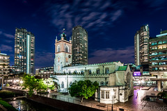 St Giles-without-Cripplegate (Daniel Coyle) Tags: stgileswithoutcripplegate barbican barbicancentre greatfireoflondon blitz 1666 1394 cityoflondon cityoflondonatnight london londonnight londonbluehour bluehour church night nightphotography nightshot nightonearth nikon d7100 nikond7100 danielcoyle uk england architecture
