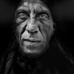 Serious man face (Ales Dusa) Tags: portrait face outdoor man strongcontrast seriousman streetshot streetportrait canon5d alesdusa human humanity closeupportrait emotion bw blackandwhite naturallight candid