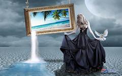 Carlos Atelier2 - Surreal (Carlos Atelier2) Tags: carlos atelier2 surreal mulher quadro deserto noite lua luar azul água