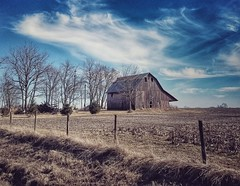 nothing but blue sky... (HFF) (BillsExplorations) Tags: fence fencefriday barn farm old vintage windmill country rural ruraldecay decay clouds blue hff
