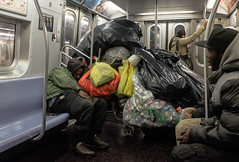 untitled-9 (Runs With Scissors) Tags: nyc x100t ©kensasteinphotogrpahy sbway brooklyn mta homelessness homeless bottlesandcans