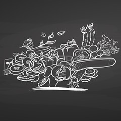 Bunch of vegetables on chalkboard (Hebstreits) Tags: art artichoke background bio black blackboard broccoli bunch cabbage carrot chalk chalkboard collection decoration design drawing drawn food fresh fruit garden hand handdrawn healthy herb icon illustration isolated kitchen nature organic set sketch symbol texture tomato vector vegetable vegetables vegetarian vintage zucchini