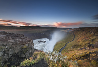Sunrise at Gullfoss falls
