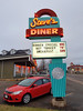 Steve's Diner - Riverview, New Brunswick (Fred:) Tags: marquee stevesdiner riverview newbrunswick steve steves retro diner restaurant resto nouveaubrunswick old school cool red neon store parking stationnement parked vehicle vehicles moncton new nouveau brunswick canadian canada food seafood burgers shakes néons neons sign affiche enseigne signe signs vintage 50s 1950s fifties années cinquante bright light lights morning arrow flèche arrows flèches car auto automobile voiture rouge